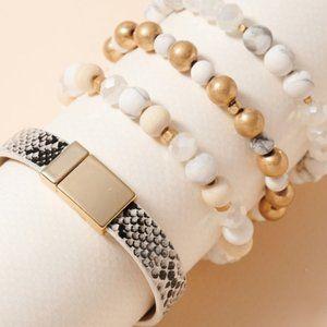 Snake Bitten Bracelet Set-White